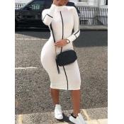 lovely Sportswear Half A Turtleneck Patchwork White Mid Calf Dress