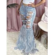 Lovely Street Broken Holes Tassel Design Baby Blue Jeans