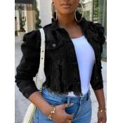 lovely Street Turndown Collar Buttons Design Black Denim Jacket