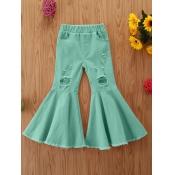 lovely Trendy Broken Holes Flared Green Girl Jeans