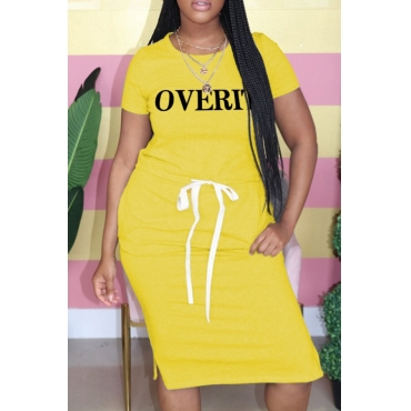 lovely Casual Letter Print Yellow Knee Length Plus Size Dress