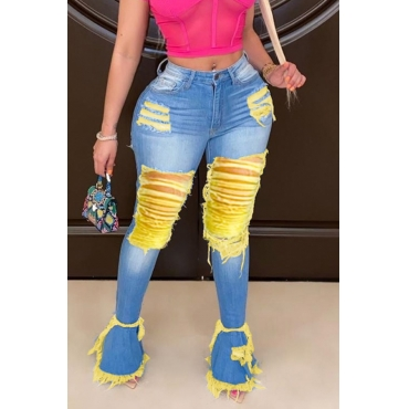 Lovely Trendy Broken Holes Deep Yellow Jeans