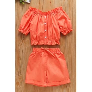 lovely Stylish Buttons Design Orange Girl Two-piece Shorts Set