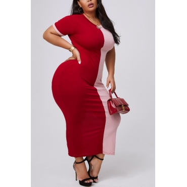 lovely Casual Patchwork Wine Red Ankle Length Plus Size Dress
