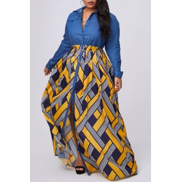 lovely Stylish Print Patchwork Yellow Maxi Plus Size Dress