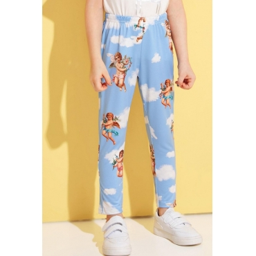lovely Casual Print Baby Blue Girl Pants