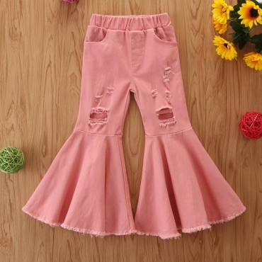 lovely Trendy Broken Holes Flared Pink Girl Jeans