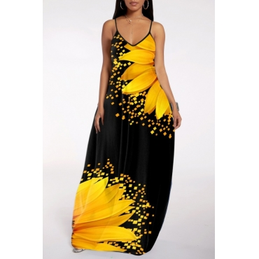 lovely Bohemian V Neck Print Black Maxi Dress