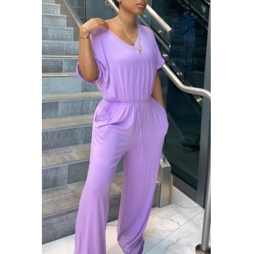 lovely Leisure V Neck Lace-up Purple One-piece Jumpsuit