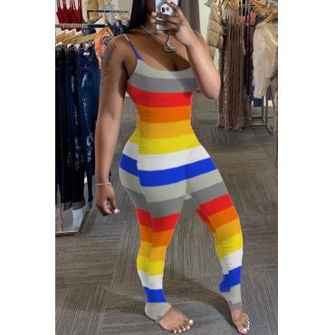 lovely Trendy Striped Multicolor Plus Size One-piece Jumpsuit