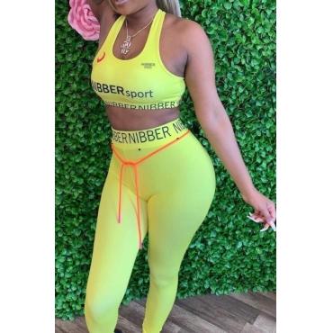 lovely Sportswear Letter Light Yellow Two-piece Pants Set