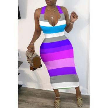 lovely Leisure Rainbow Striped Purple Mid Calf Dress