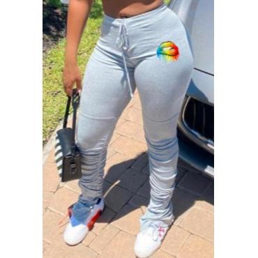 lovely Sportswear Lip Print Grey Pants