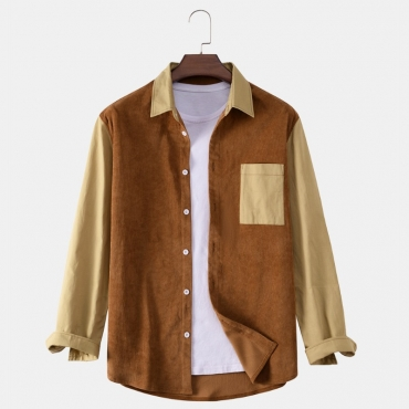 lovely Casual Turndown Collar Patchwork Brown Shirt