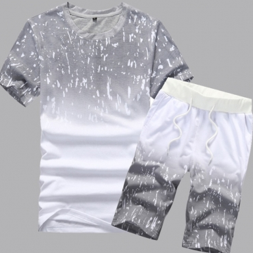 Lovely Casual O Neck Print Grey Two-piece Shorts Set