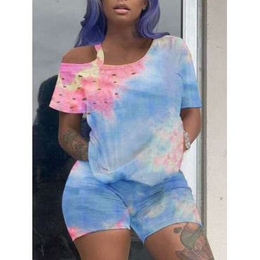 lovely Casual Tie Dye Hollow-out Blue Two Piece Shorts Set
