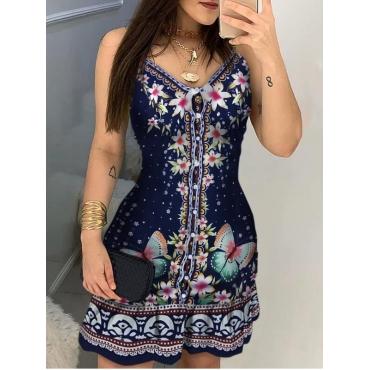 lovely Ethnic Print Dark Blue Mini Dress