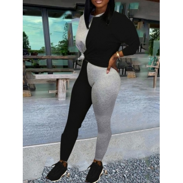 lovely Casual O Neck Patchwork Black Two Piece Pants Set
