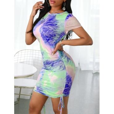 lovely Stylish O Neck Tie-dye Blue Mini Dress