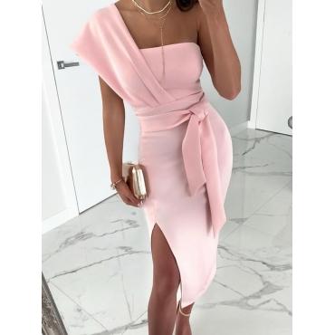 lovely Trendy One Shoulder Knot Design Pink Knee Length Dress
