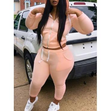 LW Plus Size Sportswear Hooded Collar Zipper Design Pink Two-piece Pants Set