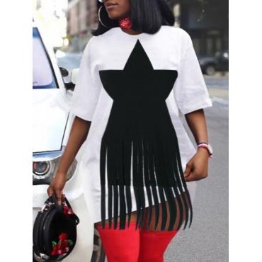 Lovelywholesale coupon: LW Plus Size O Neck Pentagram Print White Dress