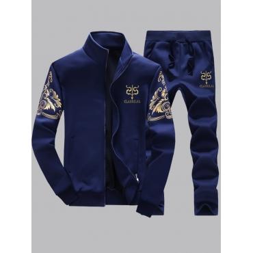 Lovely Men Stylish Print Zipper Design Deep Blue T