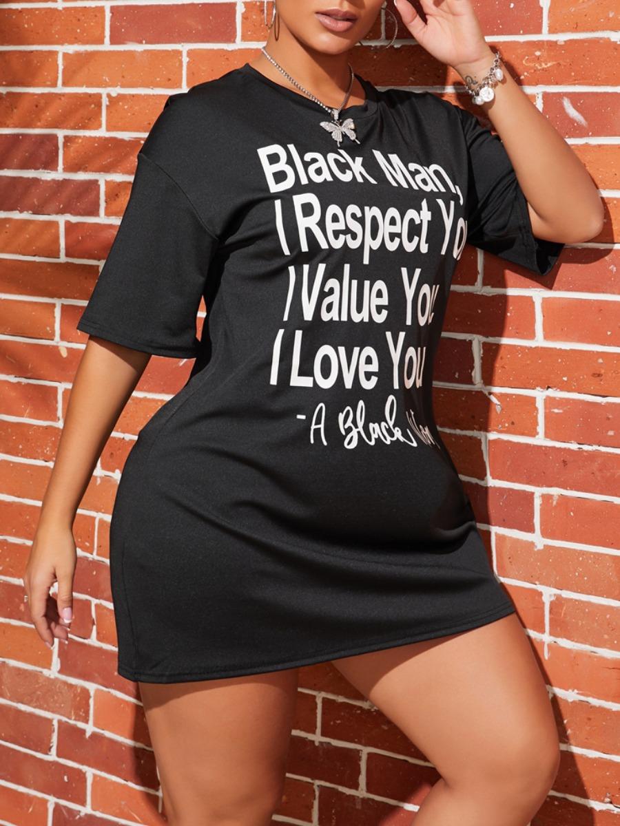 Lovely Leisure O Neck Letter Print Black Mini Dress фото