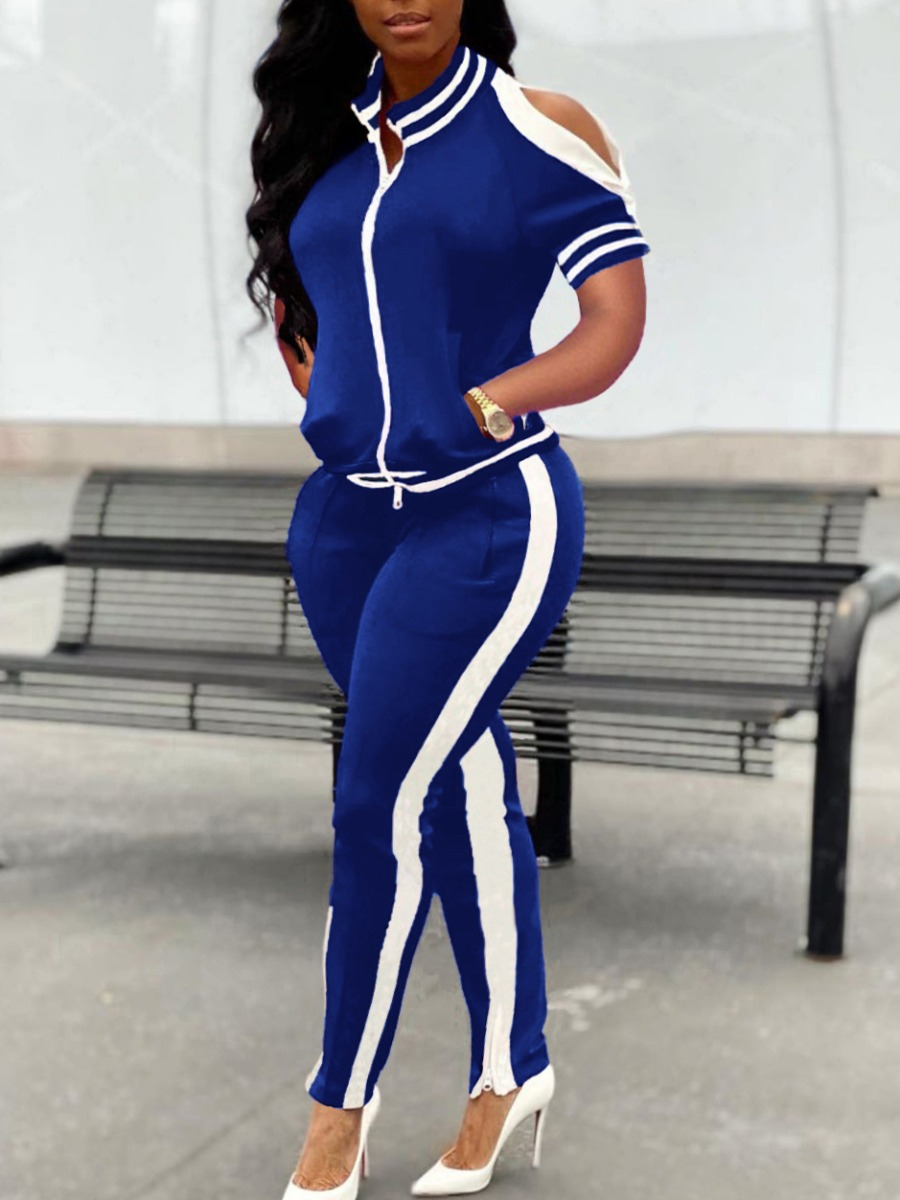 Two-piece Pants Set lovely Sportswear Hollow-out Patchwork Dark Blue Two Piece Pants Set фото
