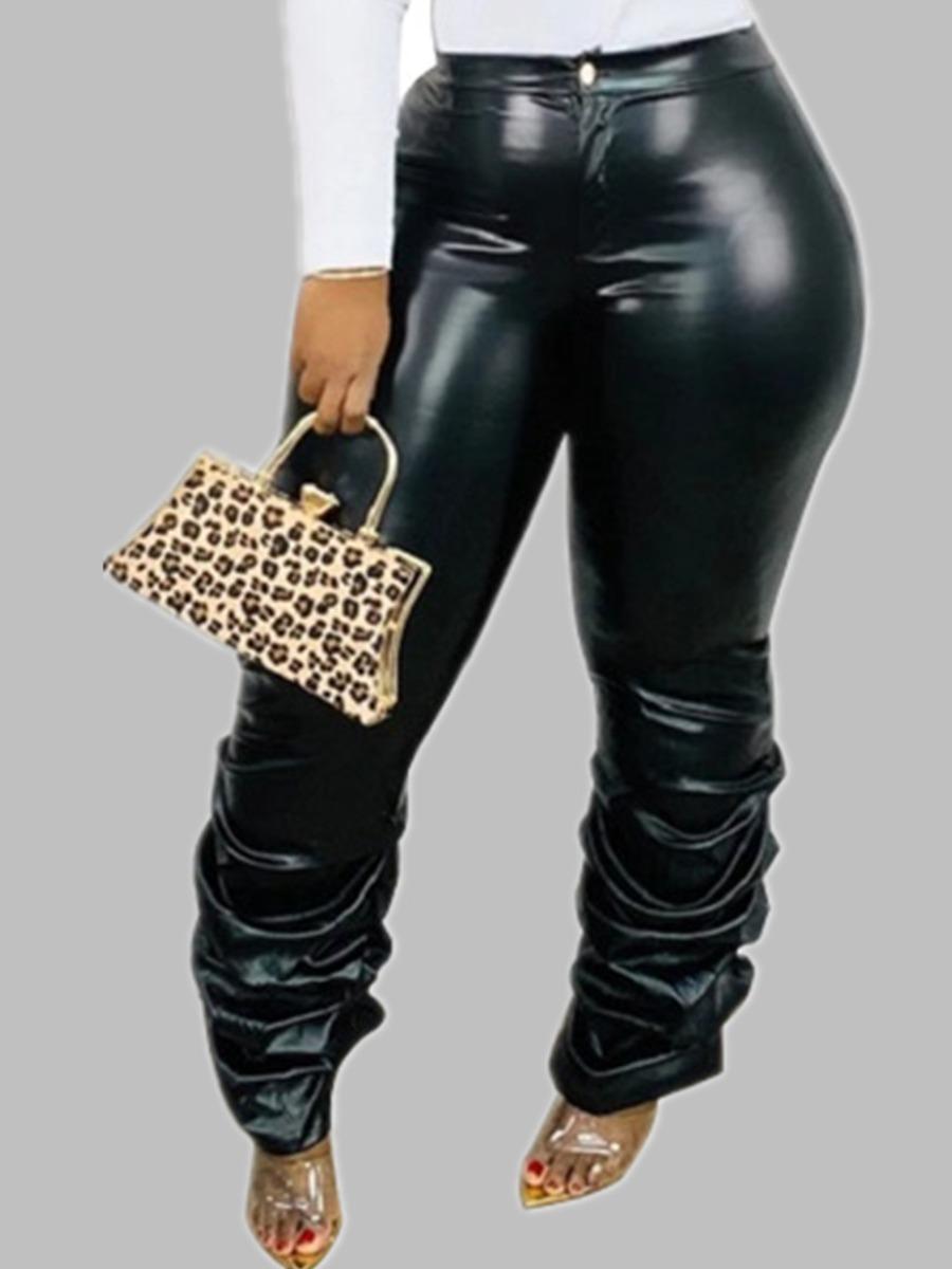 Lovely Trendy Fold Design Black Pants фото
