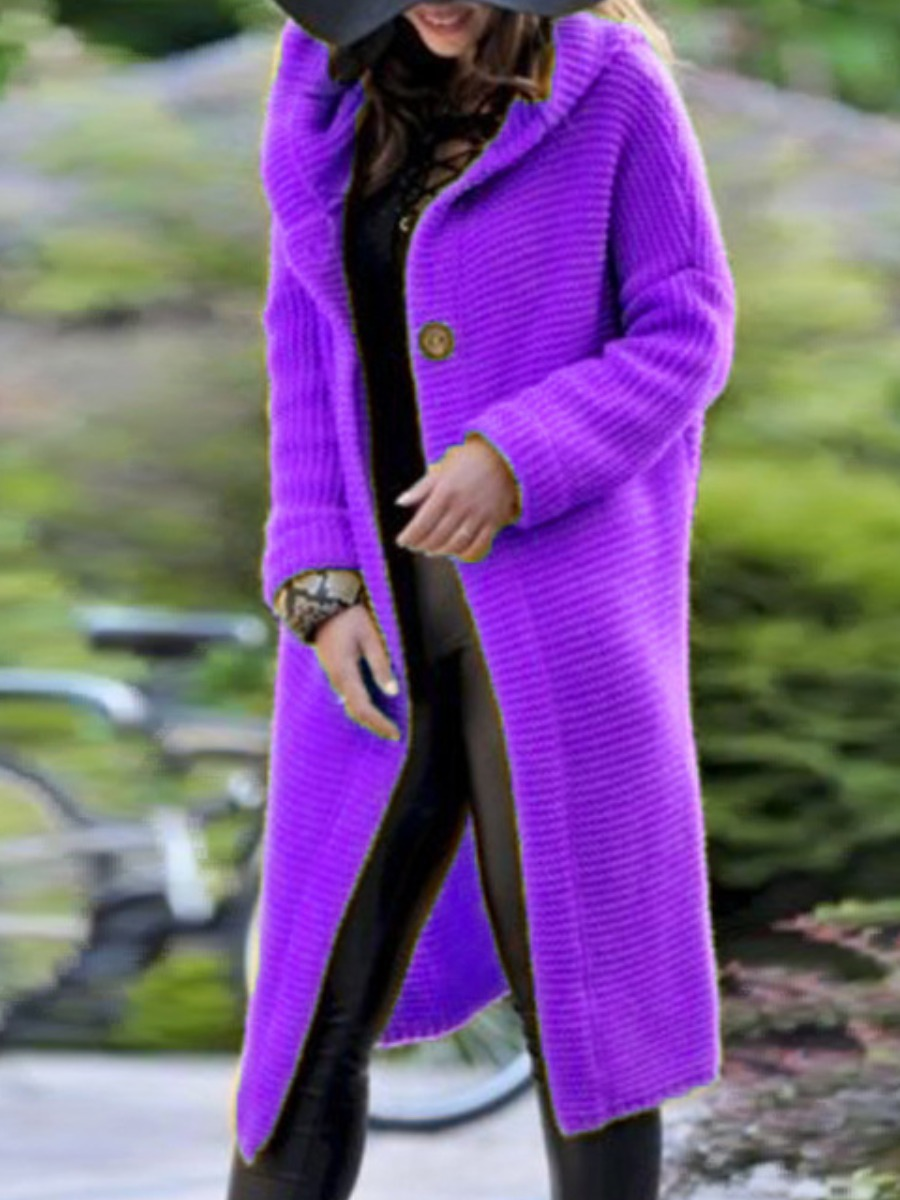 Wool&Blends lovely Casual Hooded Collar Buttons Design Purple Wool фото