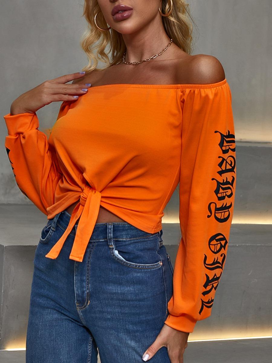 Hoodies lovely Street Dew Shoulder Letter Print Orange Hoodie фото