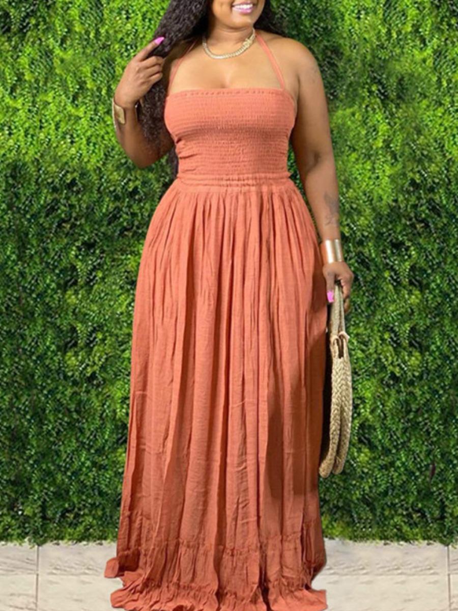Lovely Trendy Bandage Fold Design Brick Red Maxi Dress фото