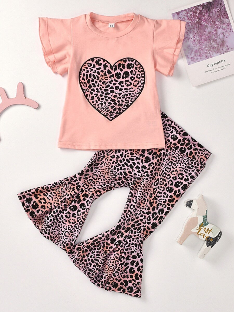 Lovely Casual O Neck Print Pink Girl Two-piece Pan