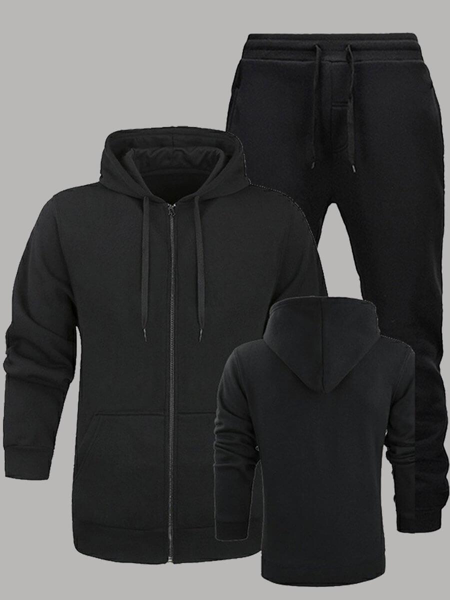 Lovely Men Sportswear Hooded Collar Zipper Design Black Men Two-piece Pants Set фото