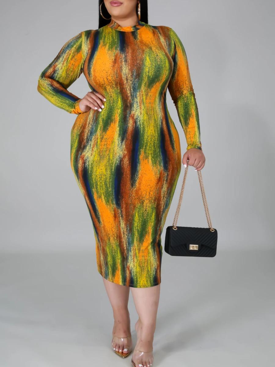 Lovely Trendy O Neck Tie-dye CrociMid Calf Plus Size Dress фото