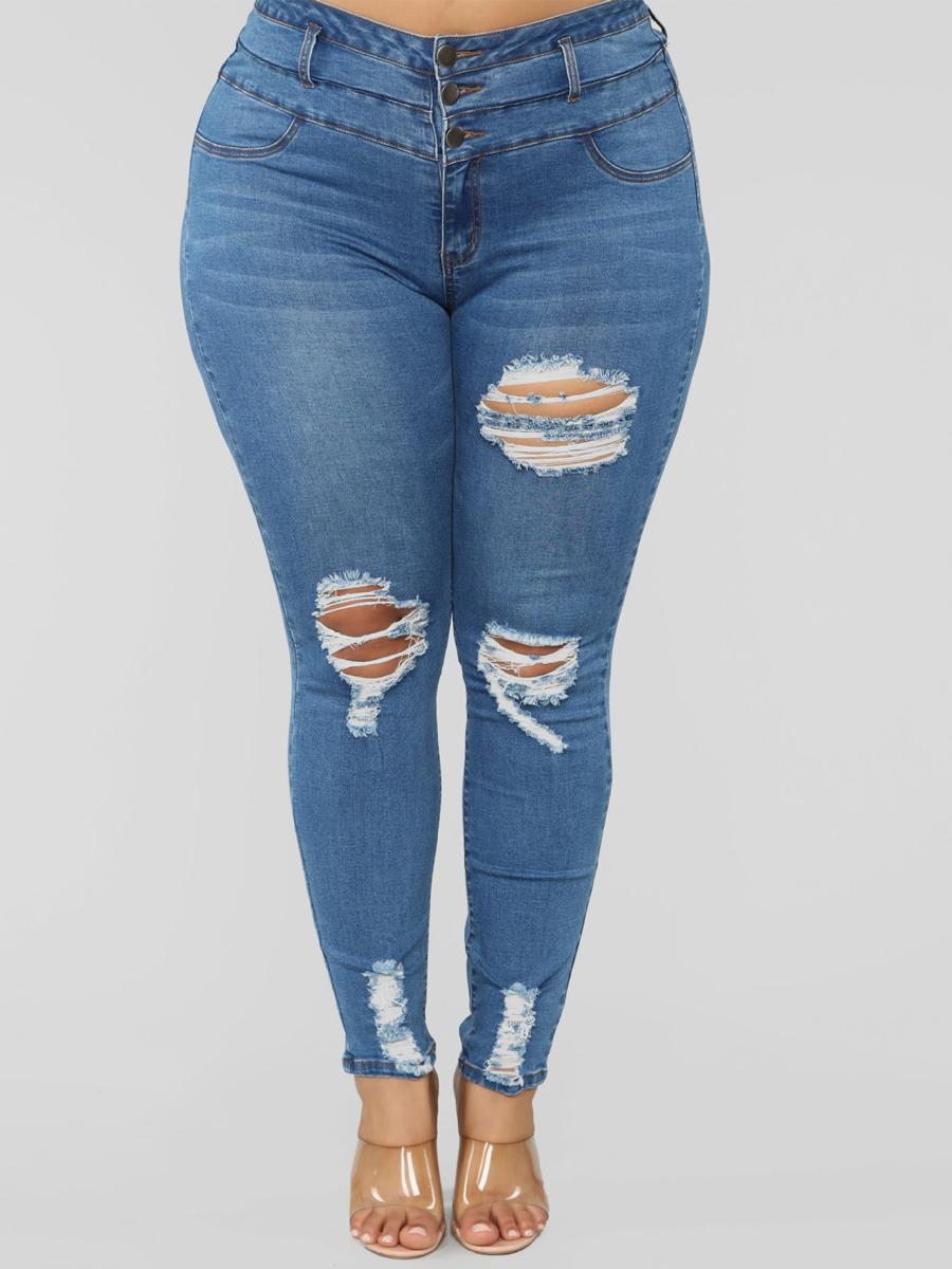 Lovely Trendy Broken Holes Blue Plus Size Jeans фото
