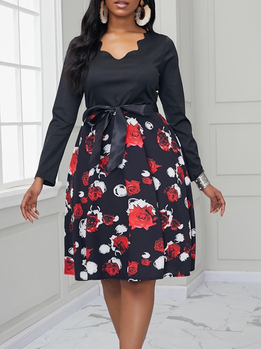 Lovely Casual V Neck Print Patchwork Black Knee Length Dress фото