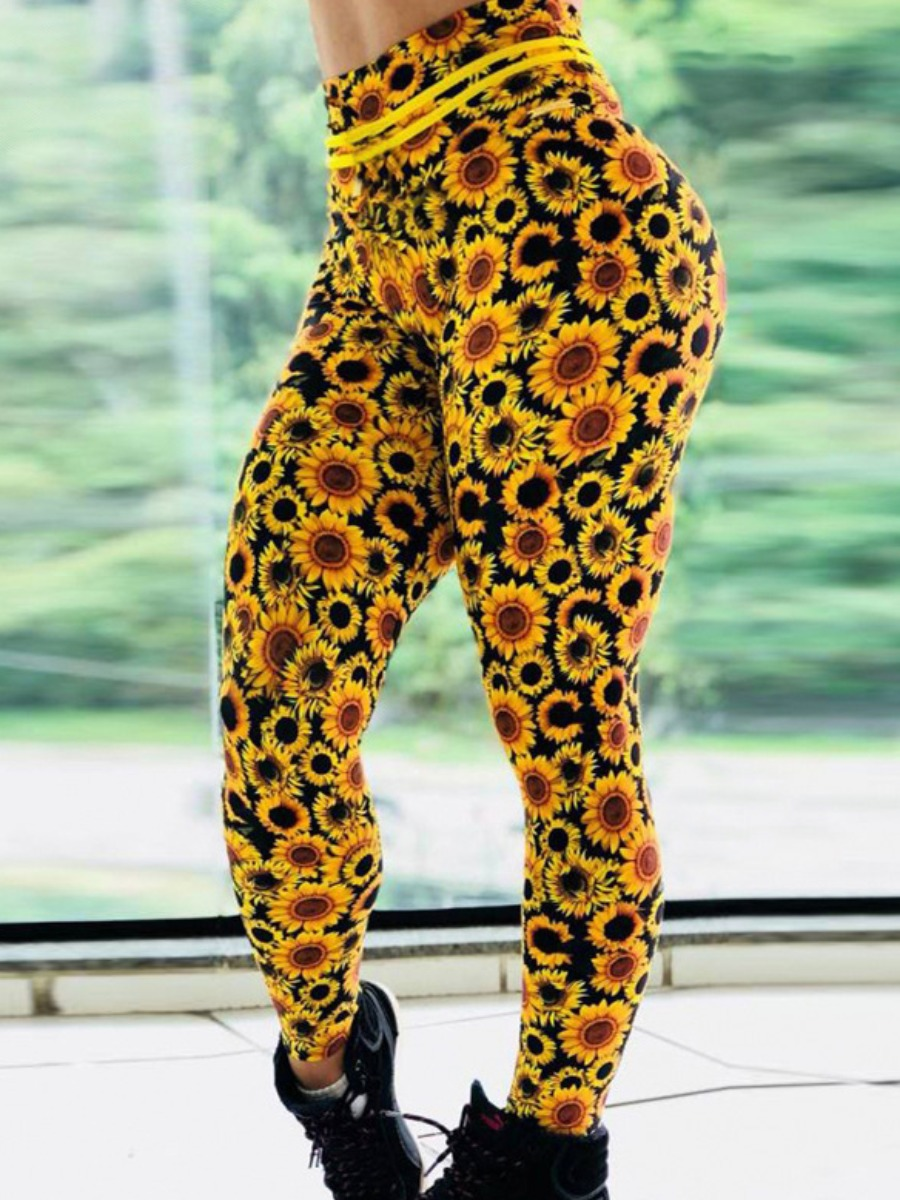 Activewear lovely Sportswear Floral Print Yellow Pants фото