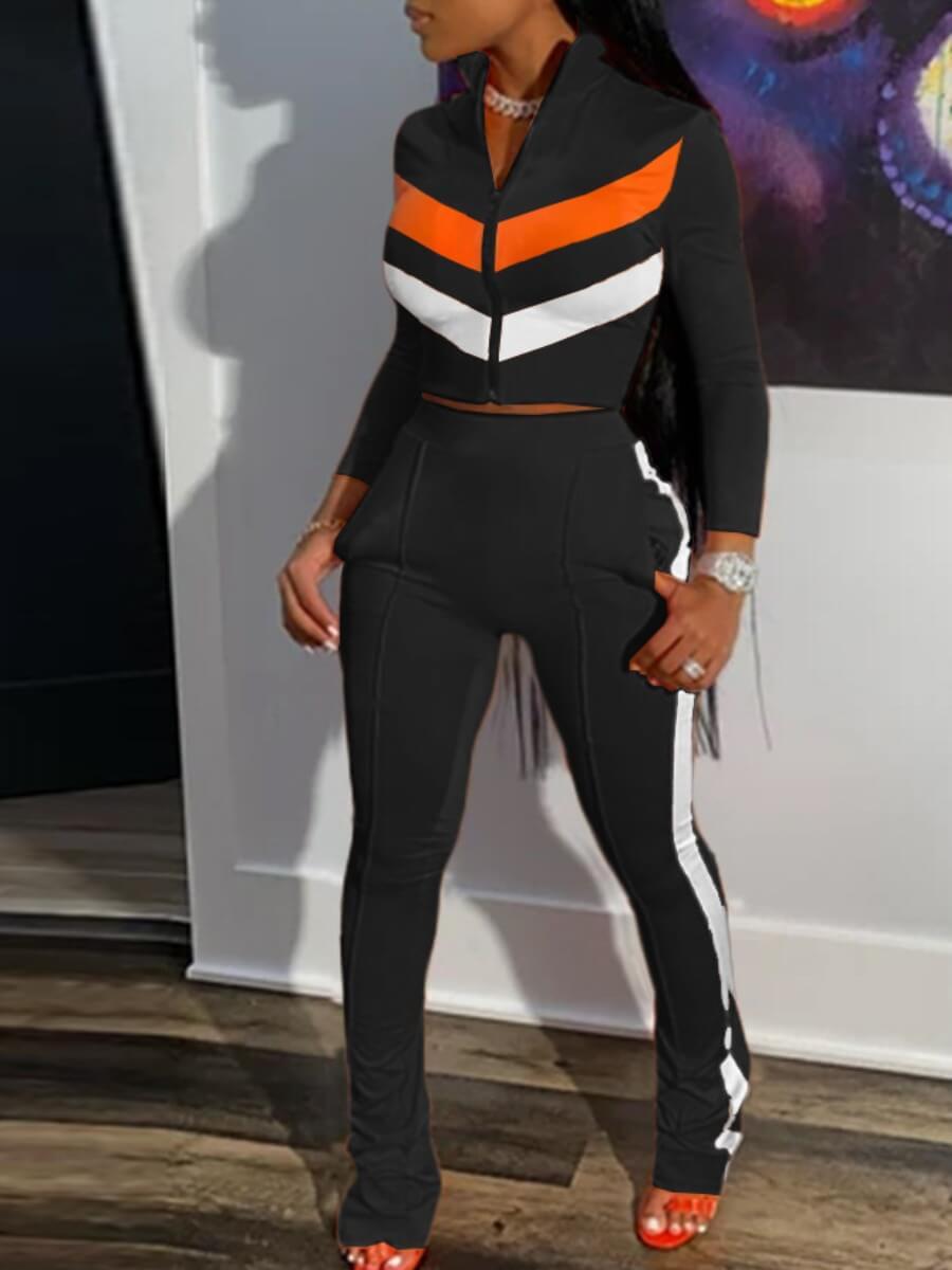Two-piece Pants Set Lovely Sportswear Zipper Design Patchwork Black Two Piece Pants Set фото