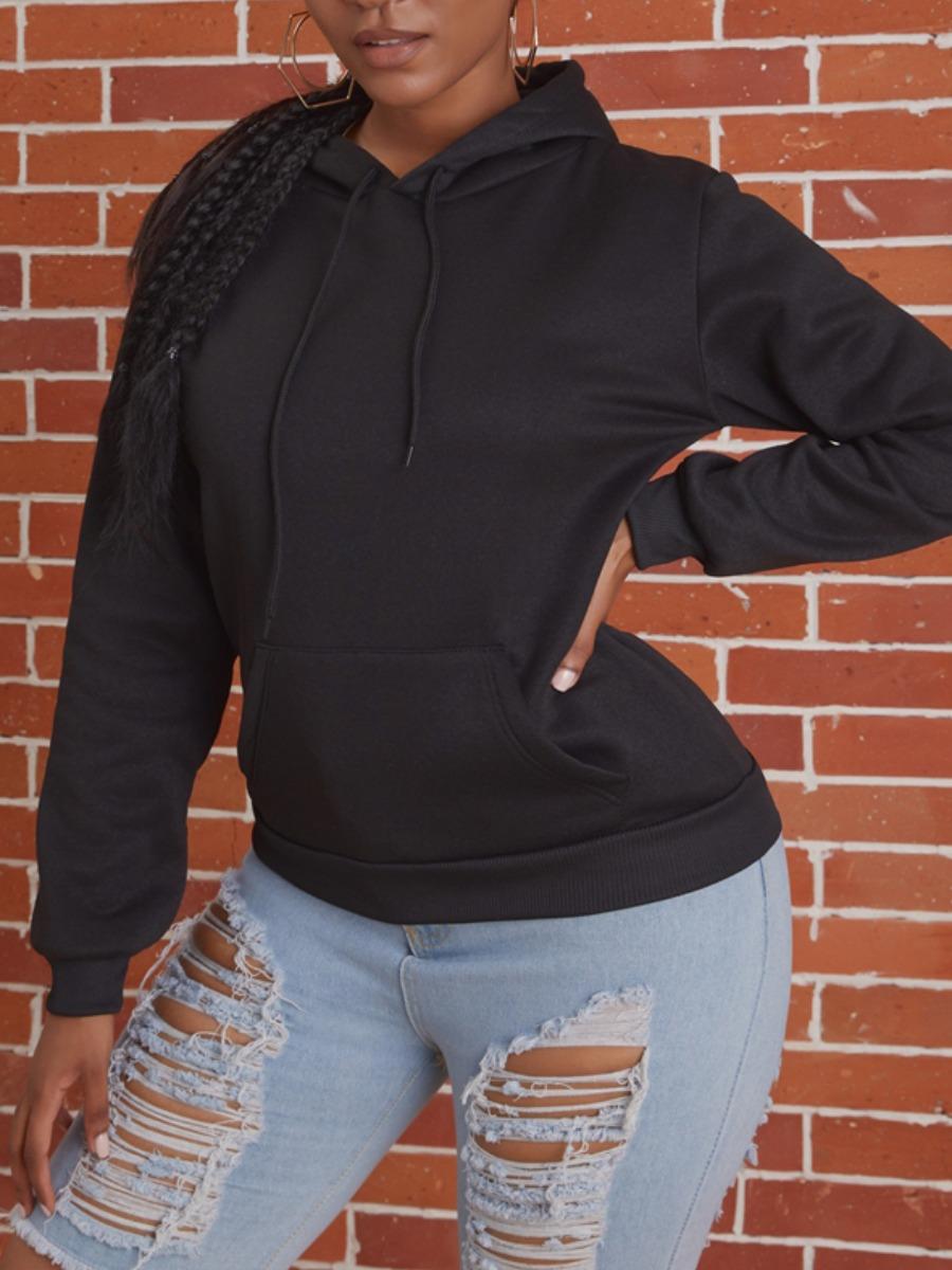 Hoodies lovely Sportswear Hooded Collar Basic Black Hoodie фото