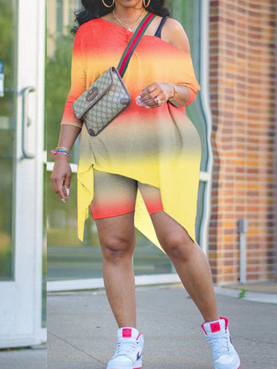 Lovely Casual Oblique Collar Tie-dye Orange Plus Size Two-piece Shorts Set фото