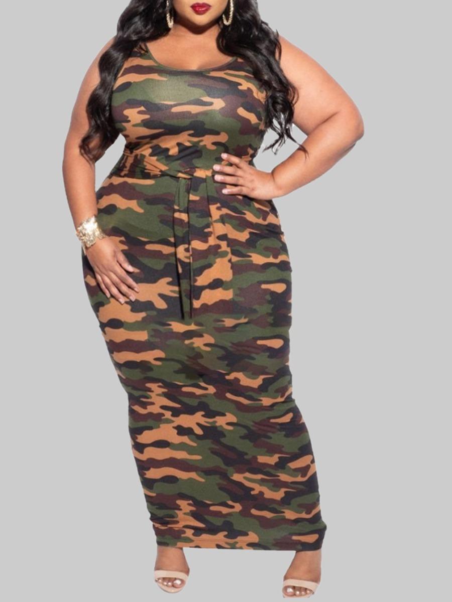 Lovely Trendy U Neck Camo Print Lace-up Maxi Plus Size Dress фото