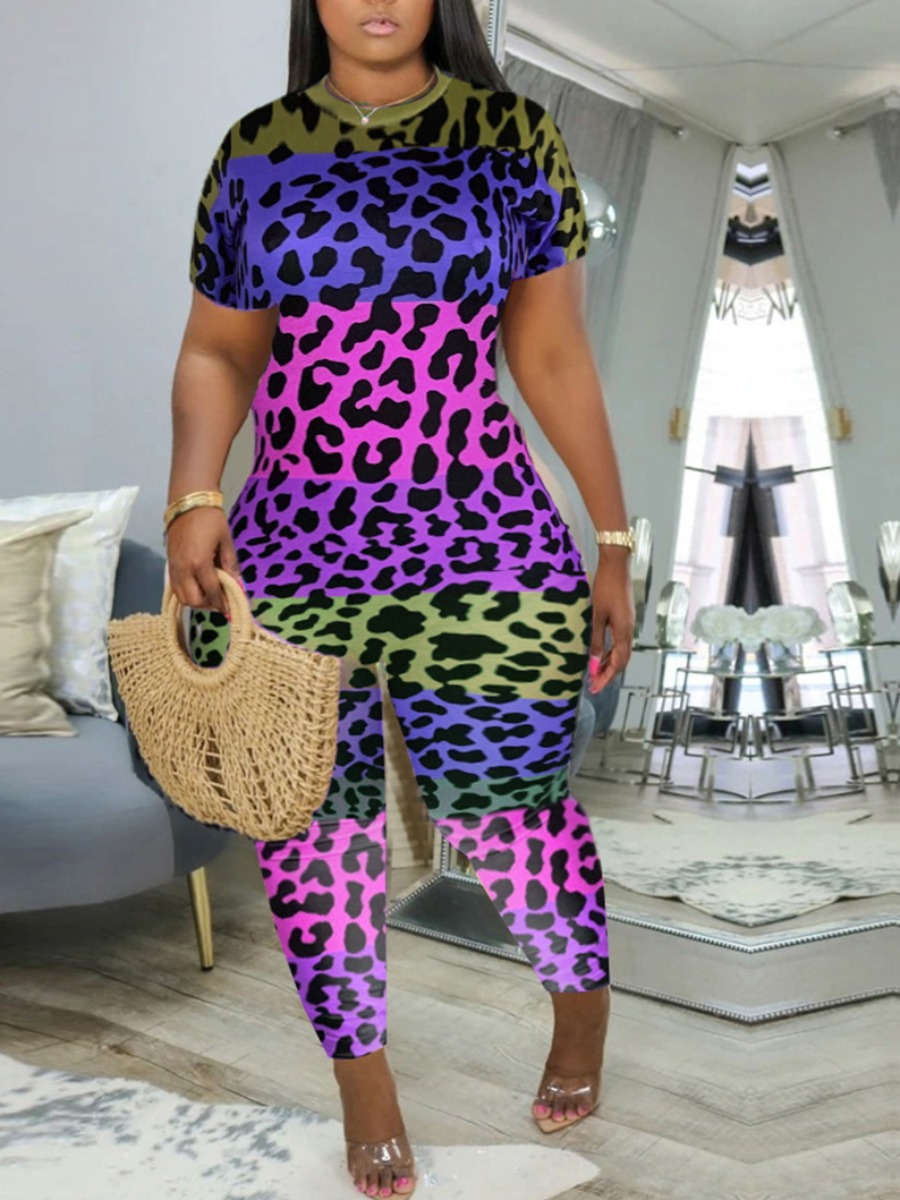 Plus Size Two-piece Pants Set Lovely Casual O Neck Leopard Print Pink Plus Size One-piece Jumpsuit фото