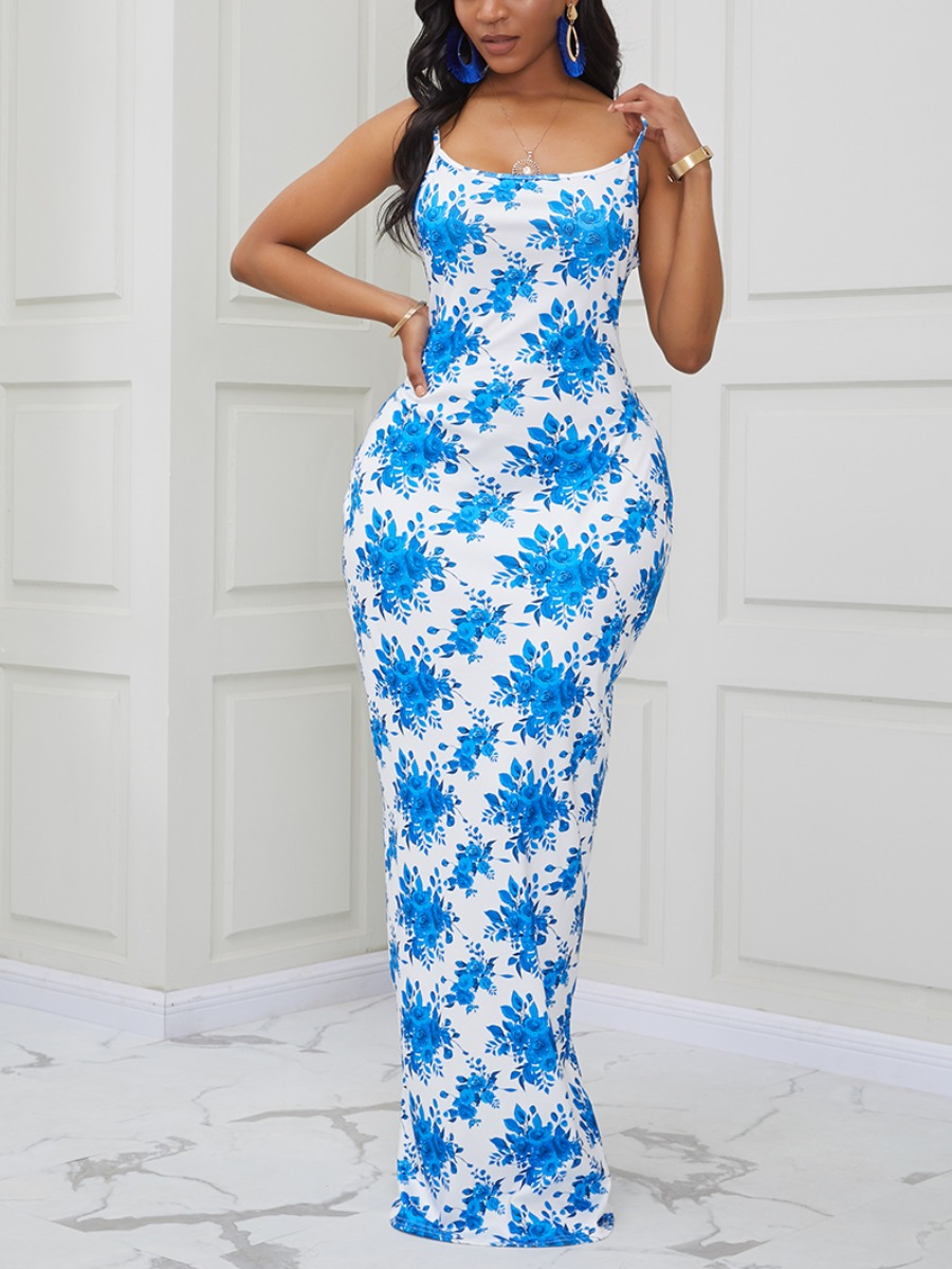 Lovely Trendy Spaghetti Strap Print White Maxi Dress фото