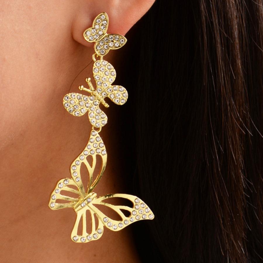 Lovely Trendy Butterfly Gold Earring фото