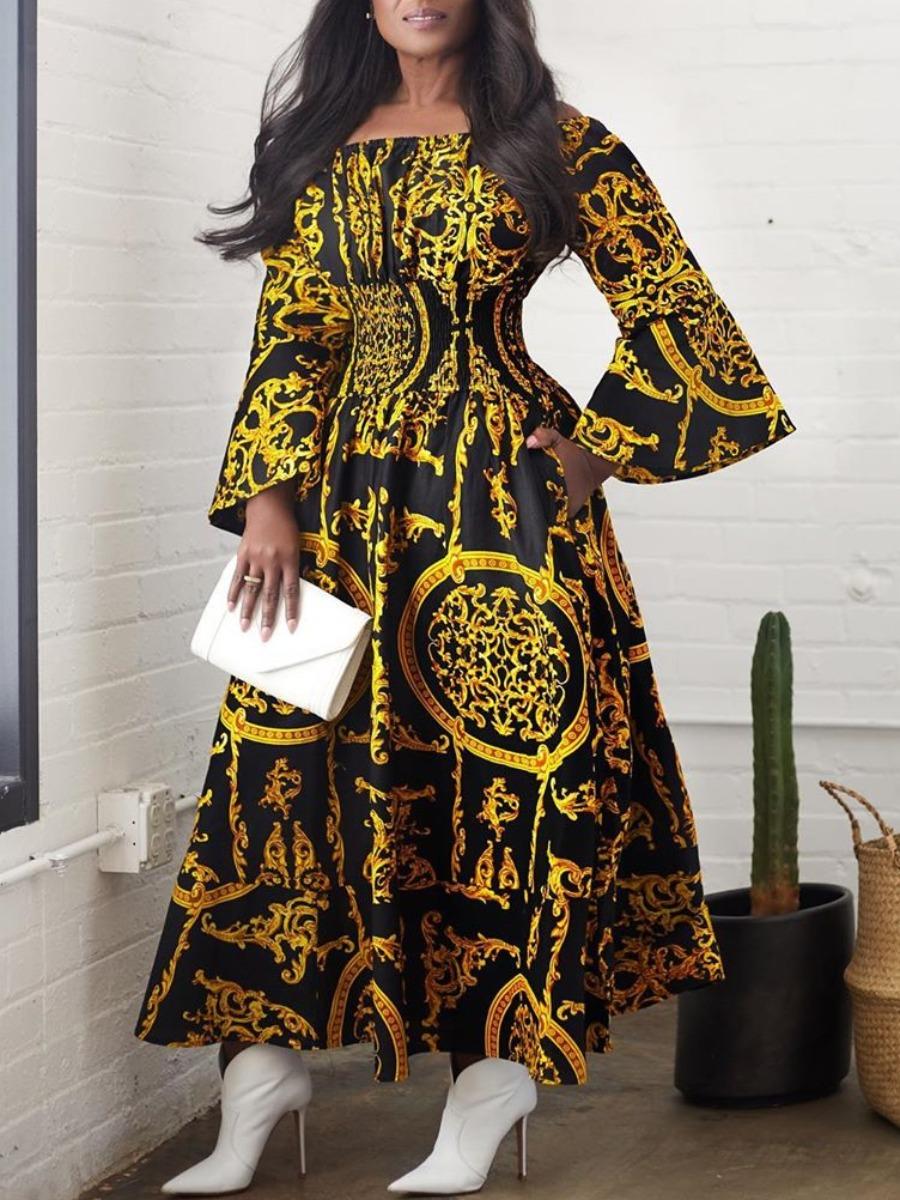 Lovely Stylish Versace Print Black Ankle Length Dress фото