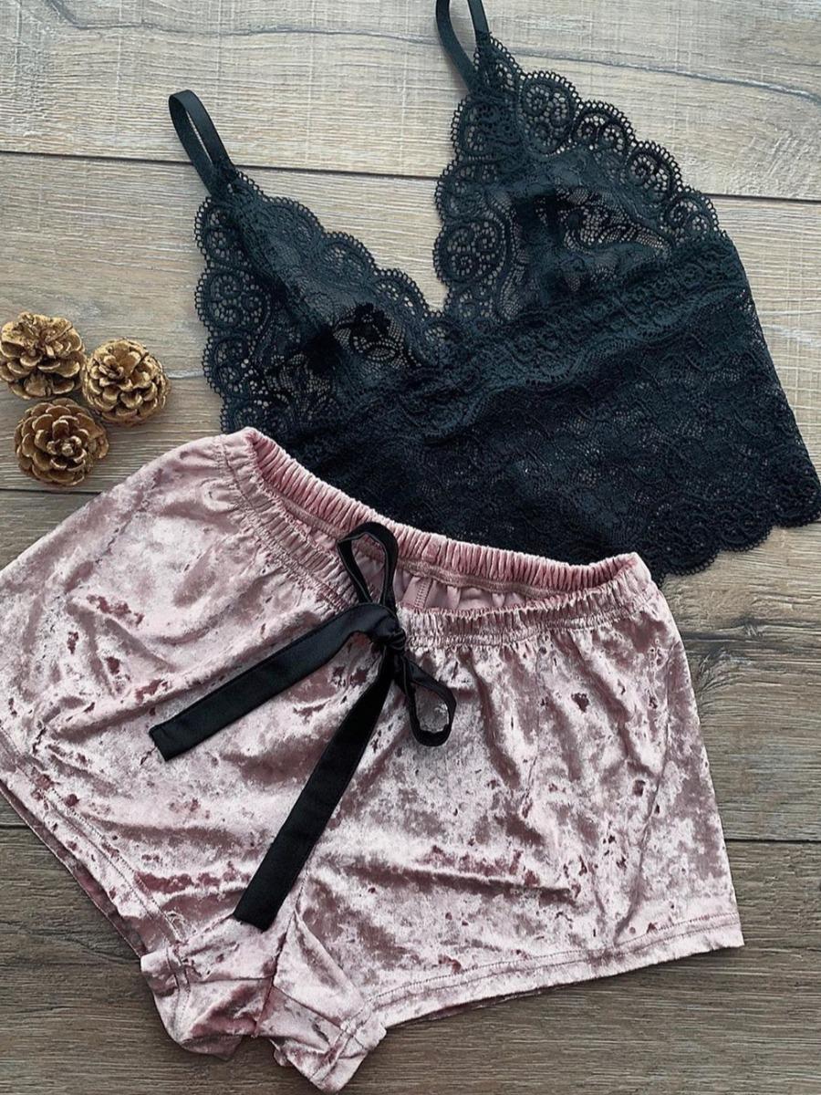 Lovely Sexy Lace Patchwork Black Sleepwear фото