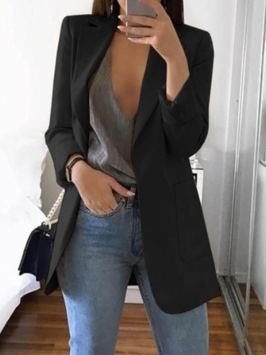 Blazer&Suits lovely Casual Turndown Collar Basic Black Blazer фото
