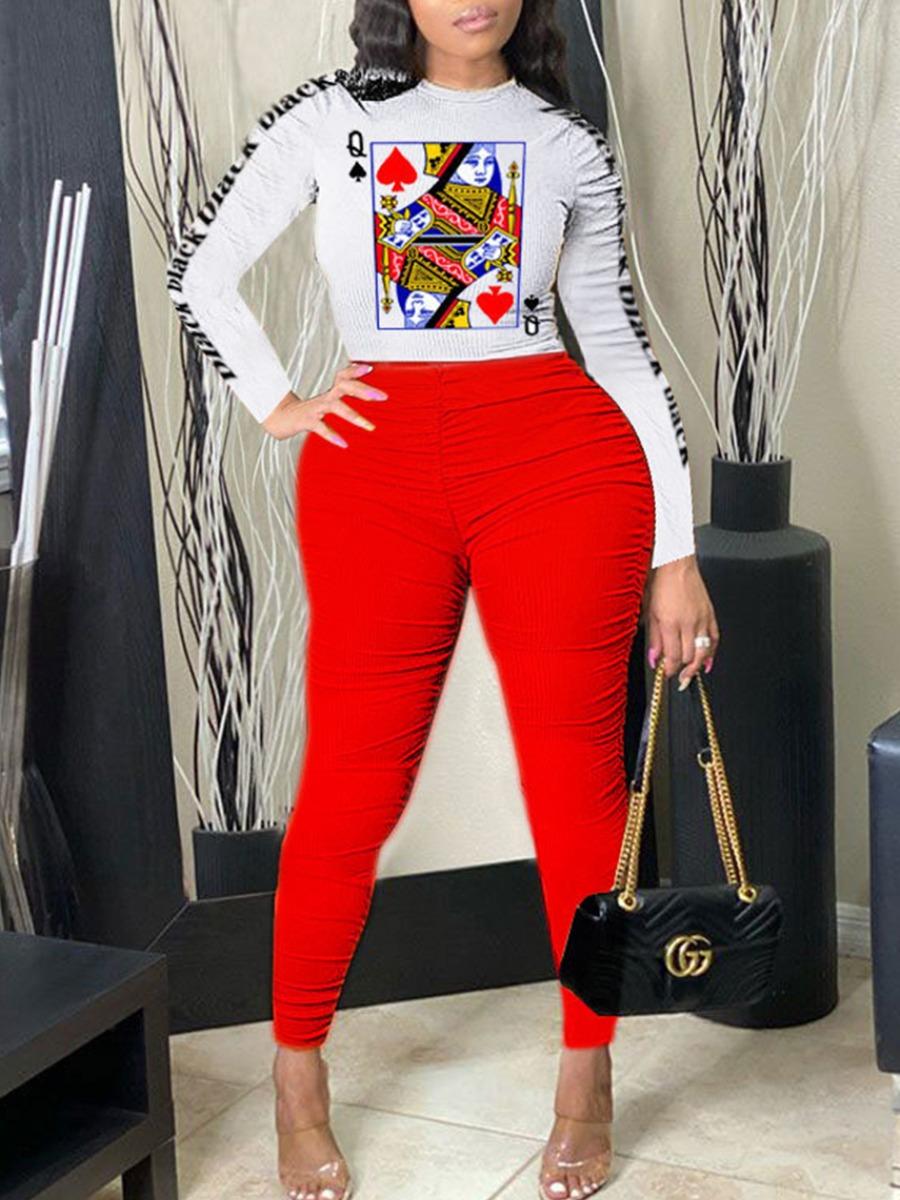 Plus Size Two-piece Pants Set lovely Leisure O Neck Print Fold Design Red Plus Size Two-piece Pants Se фото